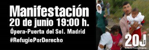 Madrid saldrá a la calle el 20J, Día Mundial de las  Personas Refugiadas.