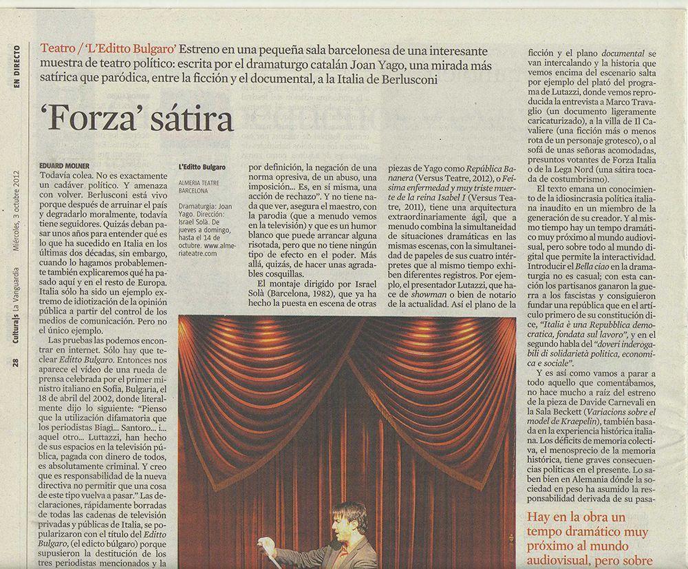 La Vanguardia Culturas 3 octubre 2012 PEQUEÑO
