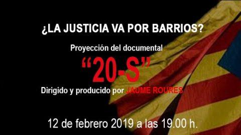 MARTES CIUDADANOS – Proyección del documental «20-S» de JAUME ROURES