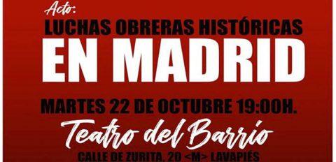 Acto sobre las luchas obreras históricas en Madrid